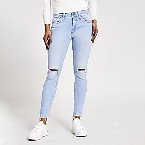 Petit – Amelie– Hellblaue Skinny Jeans im Used-Look