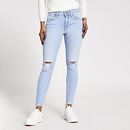 Petite light blue Amelie super skinny jeans