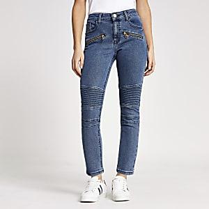 """Petite– Mittelblaue Skinny Jeans im Bikerlook """"Amelie"""""""