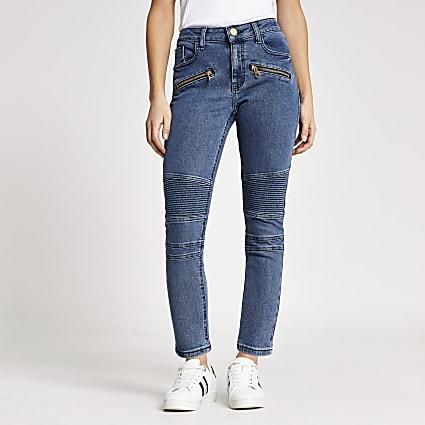 Petite mid blue Amelie biker skinny jeans