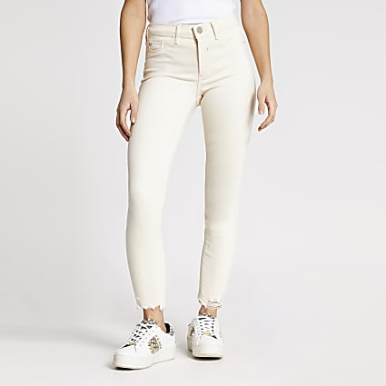 Petite ecru Molly mid rise jeggings