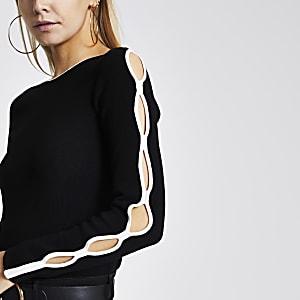 RI Petite - Zwarte gebreide trui met mouwen met uitsnede
