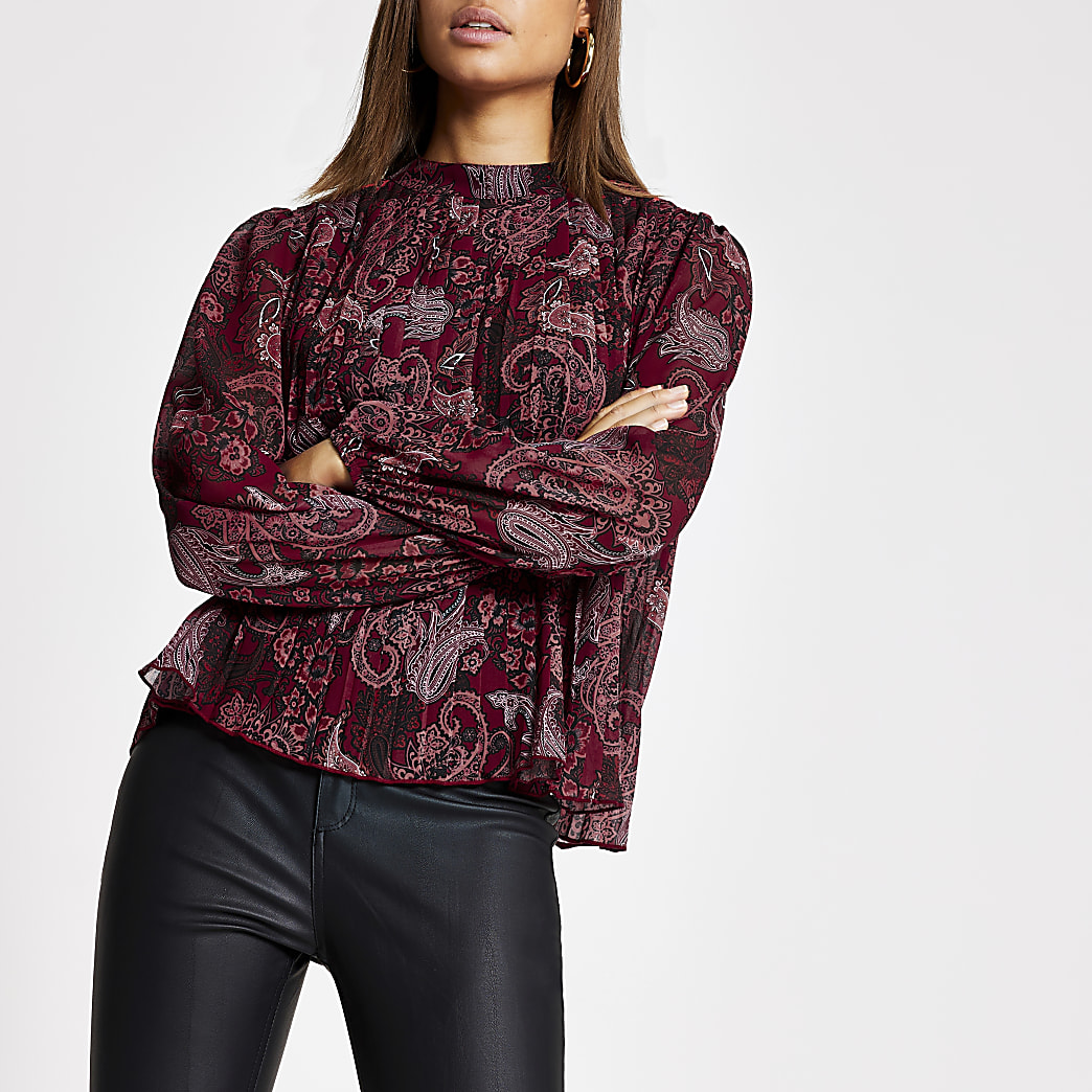 Red paisley pleated long sleeve blouse