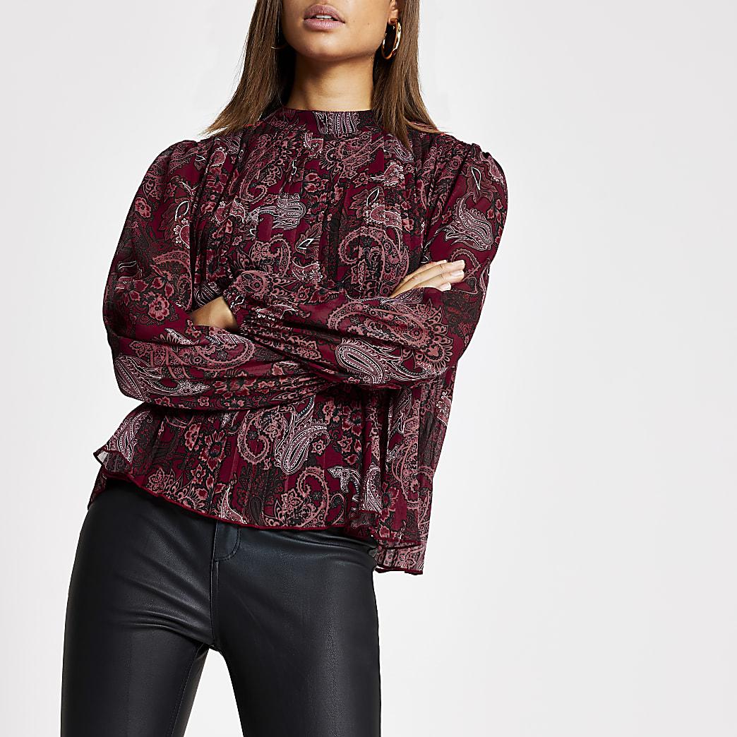 Rode geplooide blouse met lange mouwen