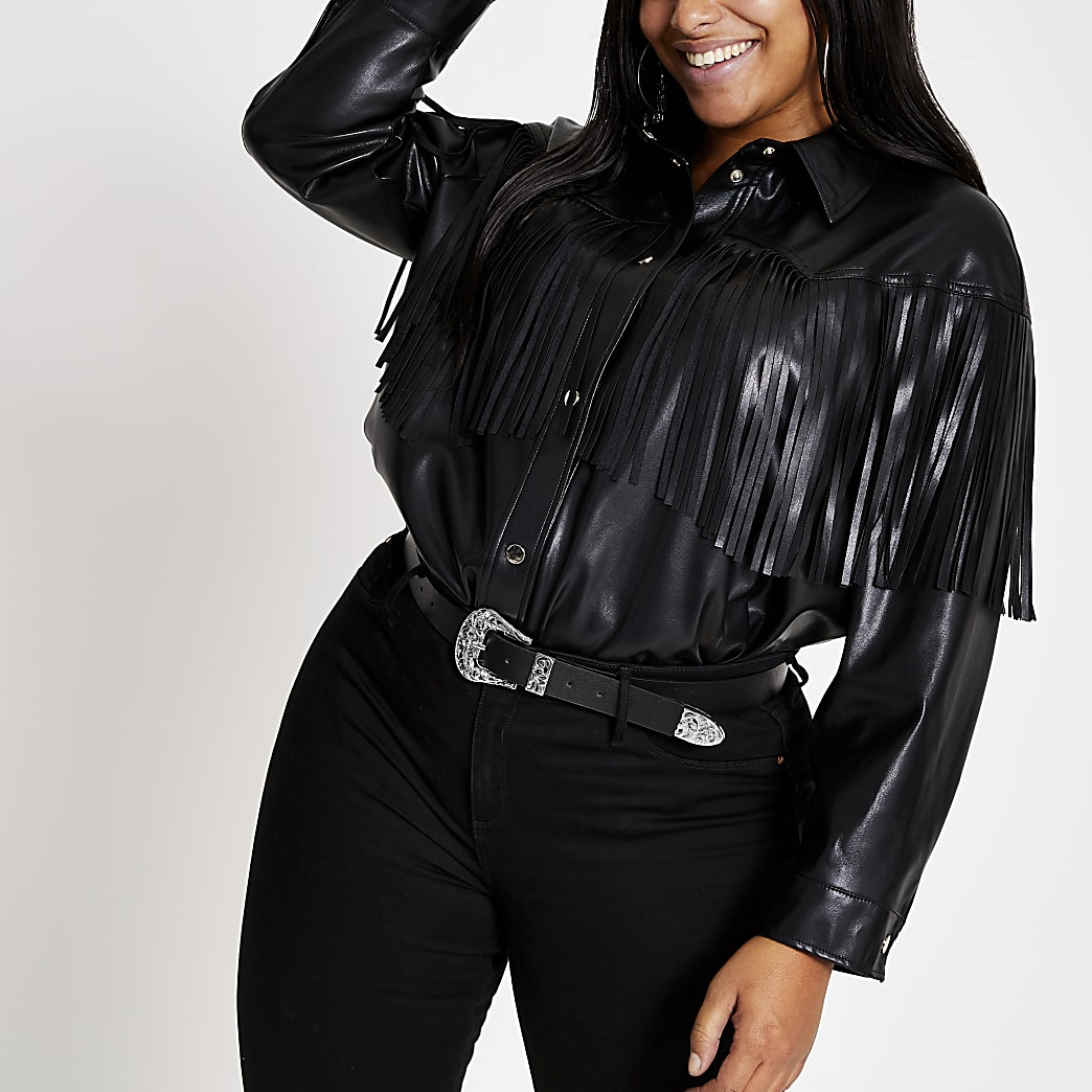 Plus black faux leather fringe shirt jacket