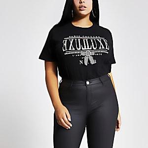 Plus - T-shirt noir avec nœud àimprimépied-de-poule