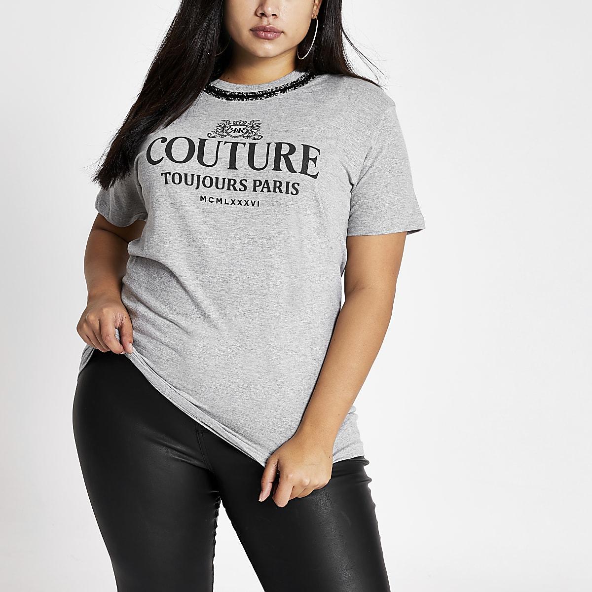 Plus - T-shirt gris impriméavec collier