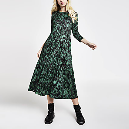 Green printed long sleeve midi smock dress