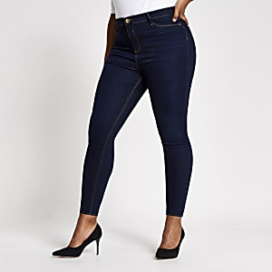RI Plus - Molly - Donkerblauwe mid rise jegging