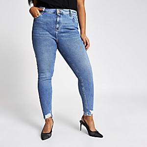 "Plus – Blaue Skinny Jeans ""Amelie"" mit hohem Bund"