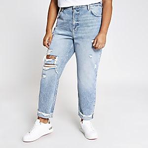 Plus – Blaue Hoch geschnittene blaue Mom-Jeans im Used-Look