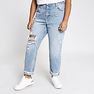 RI Plus - Mom - Blauwe ripped high rise jeans