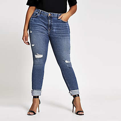 Plus blue ripped Amelie skinny jeans