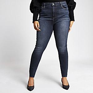 Plus – Hailey – Dunkelblaue Skinny Jeans mit hohem Bund