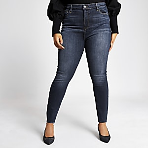 RI Plus - Hailey - Donkerblauwe washed high rise jeans