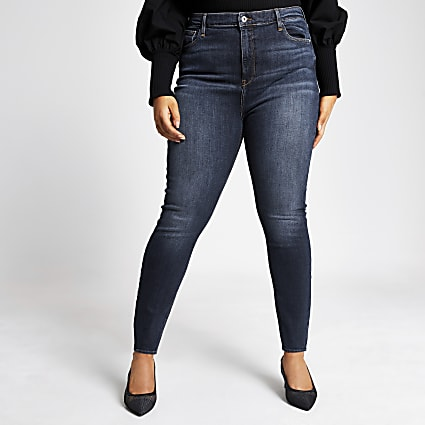 Plus dark blue washed Hailey high rise jeans