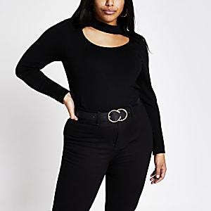 RI Plus -Zwarte gebreide trui met uitsnede en chokerhals