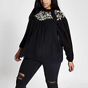 Plus black embroidered sheer blouse