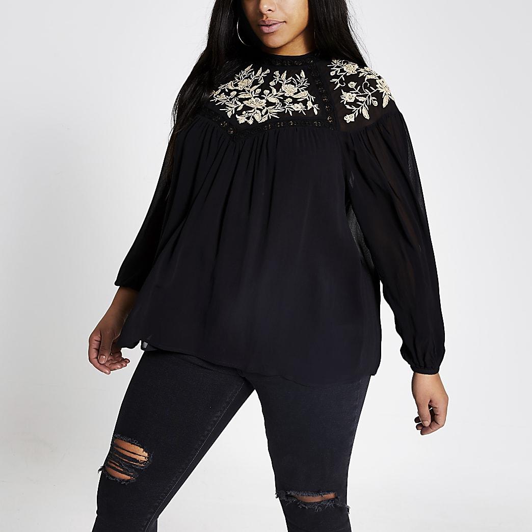 RI Plus - Zwarte geborduurde doorschijnende blouse