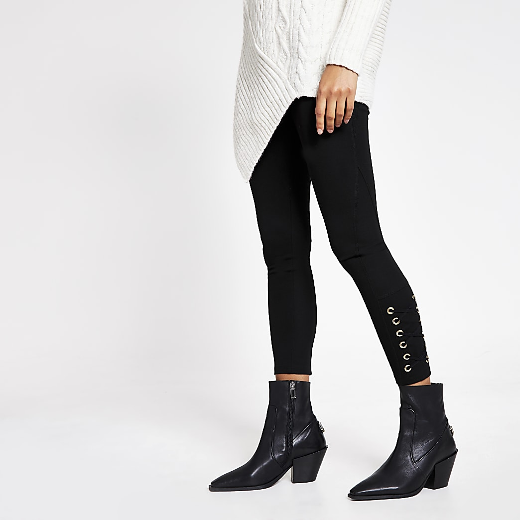 Black eyelet lace-up side leggings