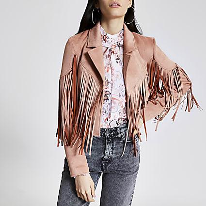 Pink suedette fringe cropped jacket