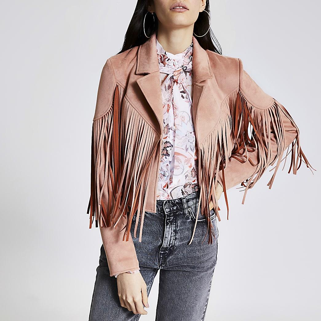 Veste courte rose ensuédine à franges