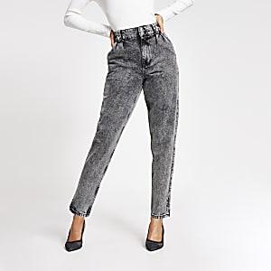 Zwarte acid wash high rise tapered jeans