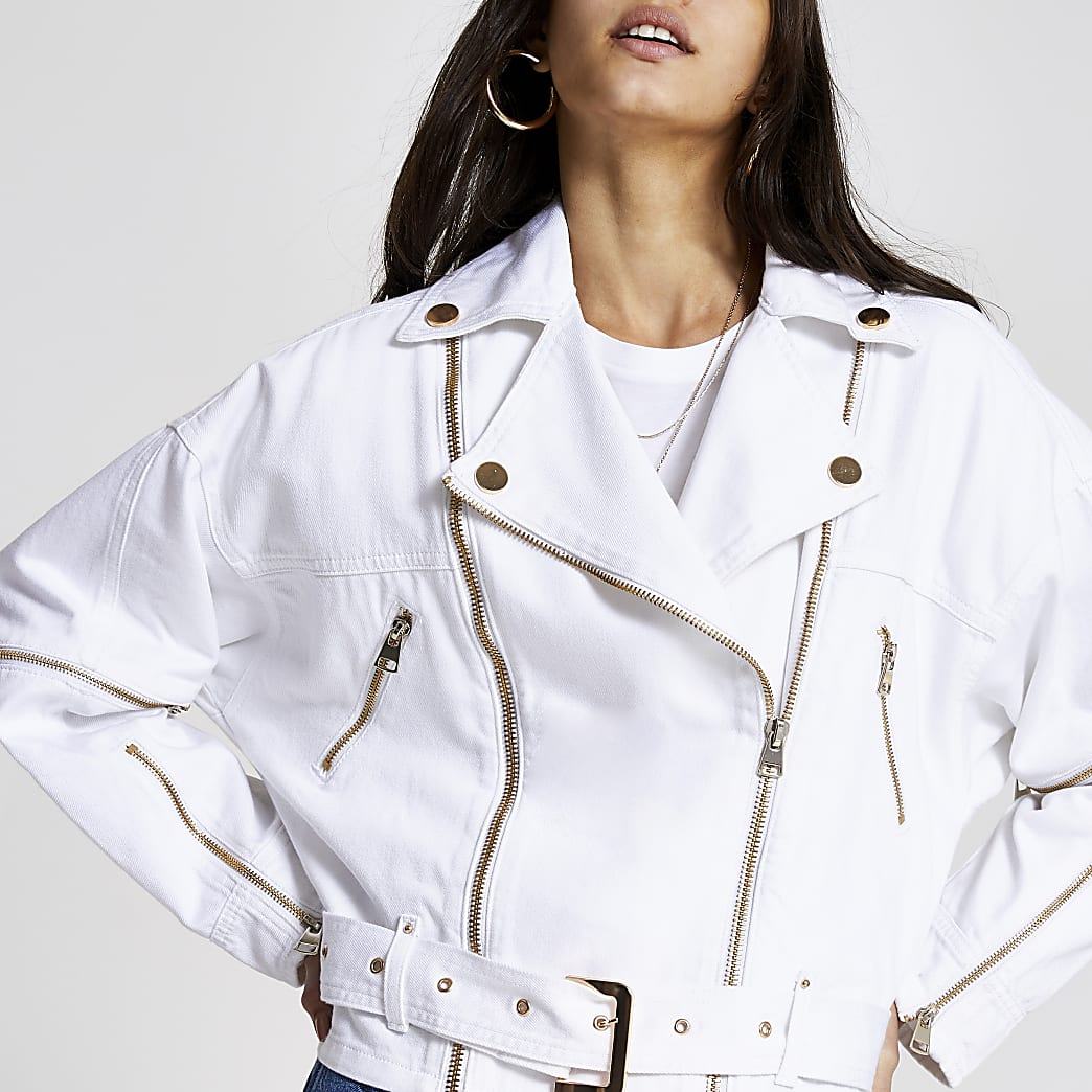 White zip front belted biker denim jacket