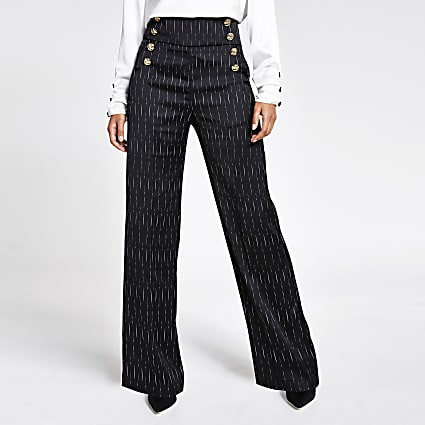 Black stripe button front wide leg trousers