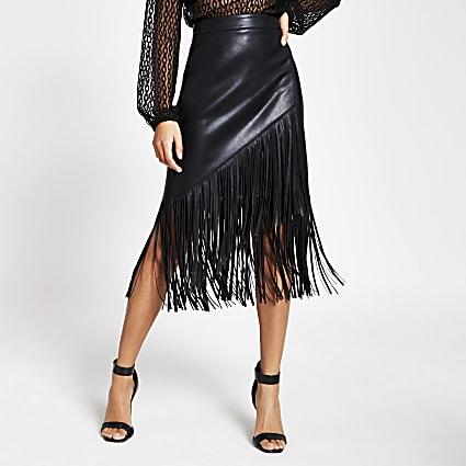 Black faux leather fringe pencil skirt