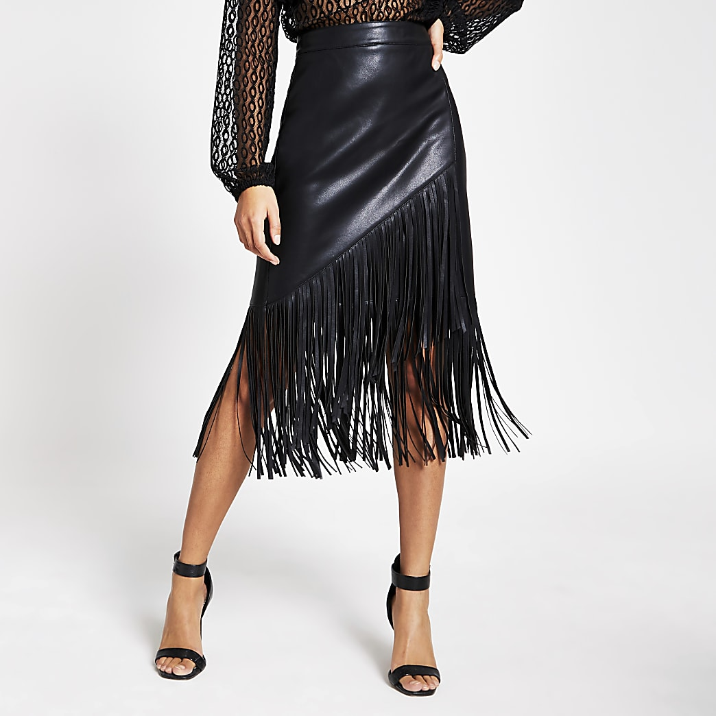 Black faux leather fringe pencil skirt