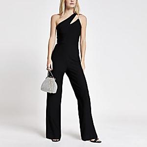 RI Petite - Zwarte jumpsuit met ontblote schouder en schouder met uitsnede
