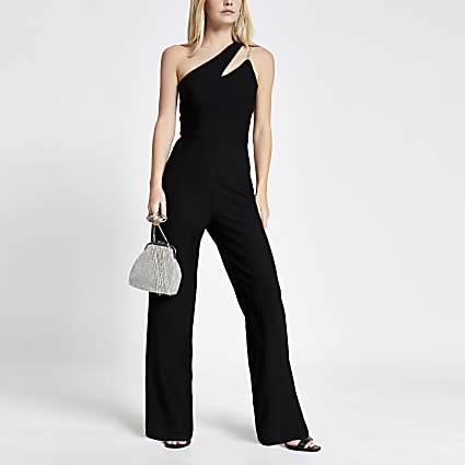Petite black one cut out shoulder jumpsuit