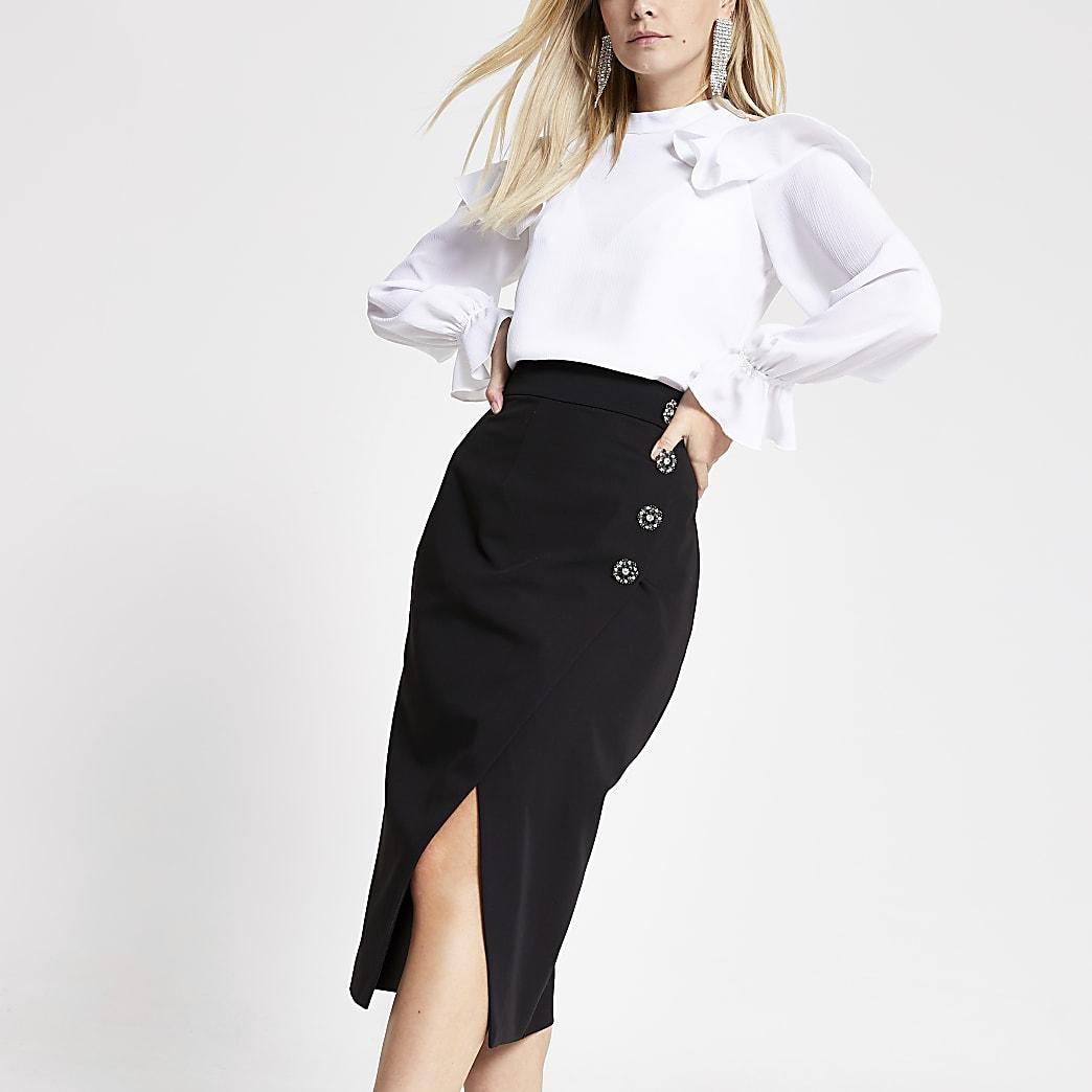 Petite black embellished pencil midi skirt