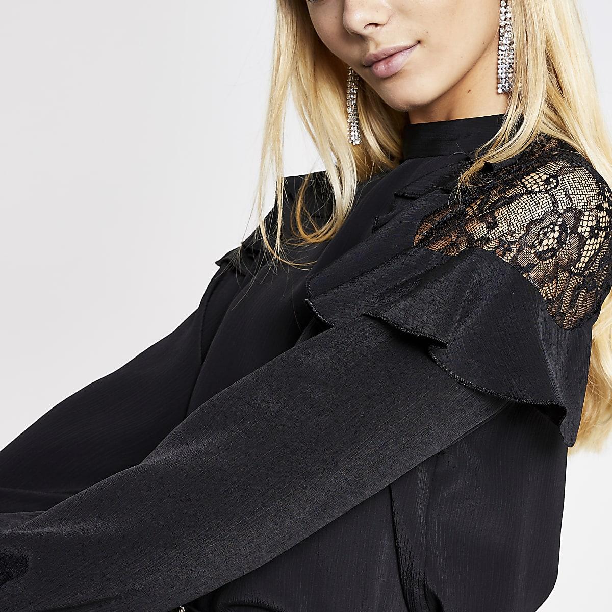 Black lace frill shoulder top
