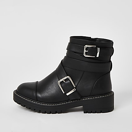 Black buckle strap wide fit chunky boots