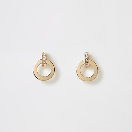 Gold colour diamante circle drop stud earring