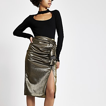 Gold ruffle split hem pencil skirt