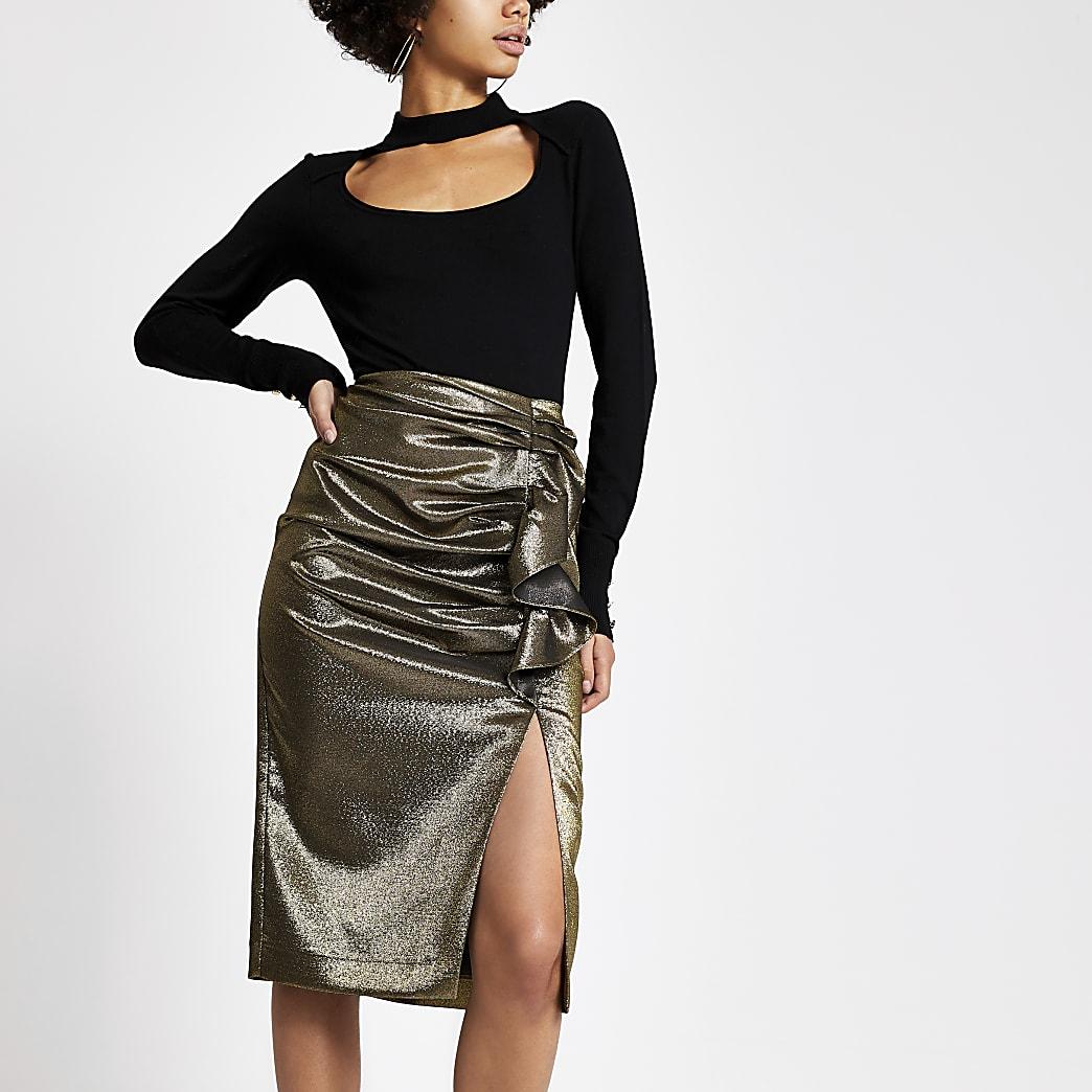 Gold ruffle split hem pencil skirt