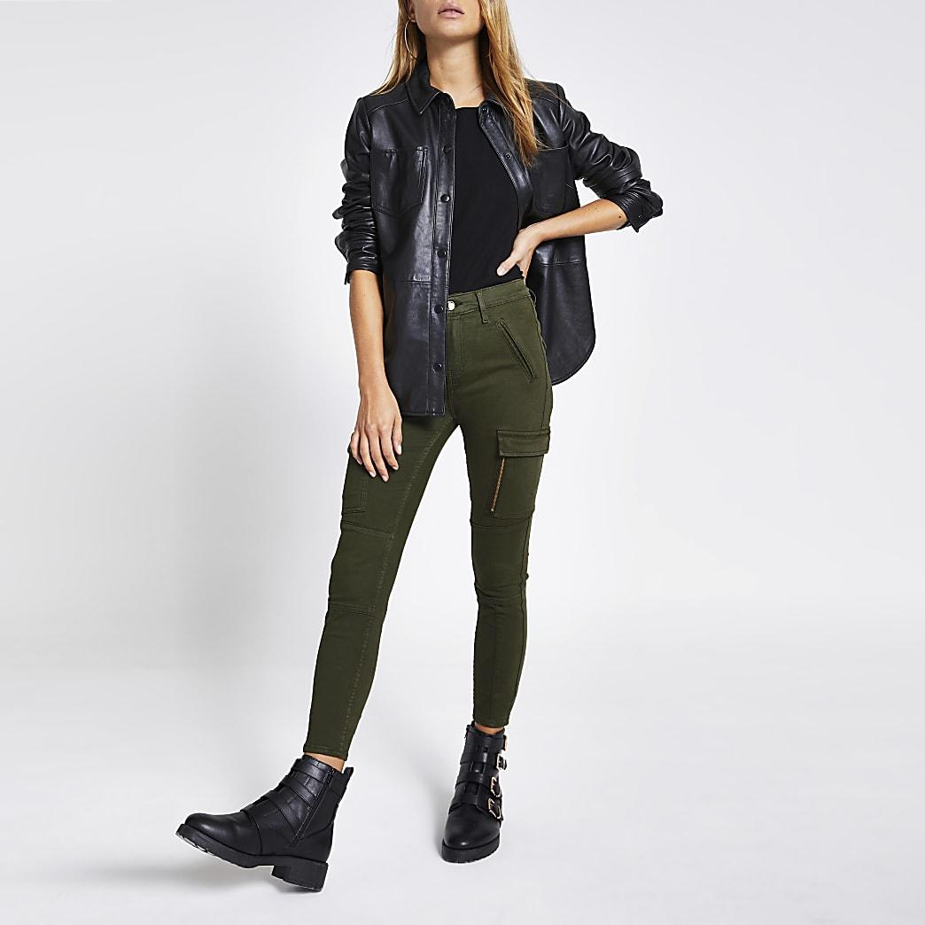 Khaki Amelie cargo super skinny zip jeans