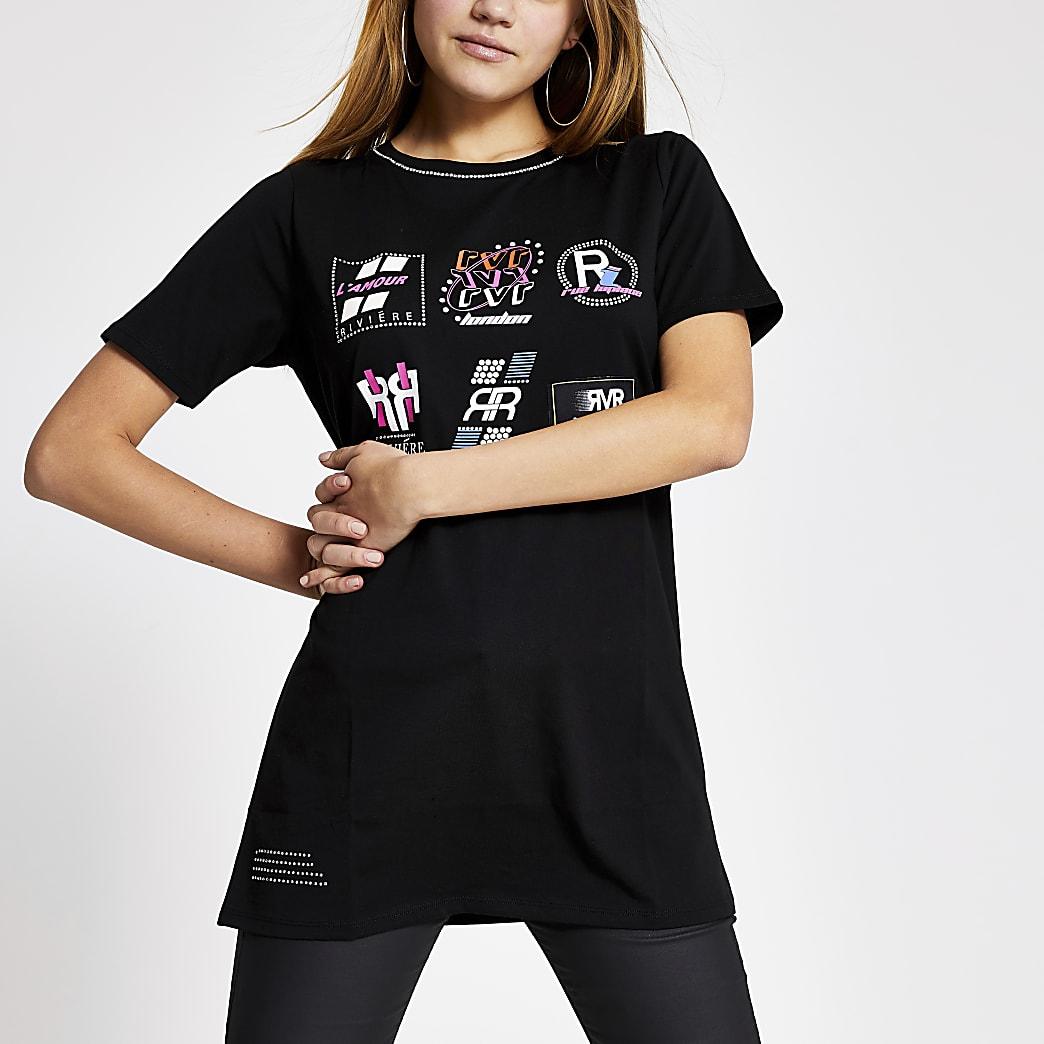 Black RVR printed boyfriend T-shirt