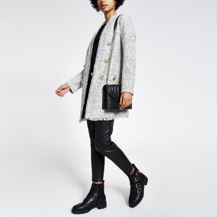 Cream longline boucle blazer