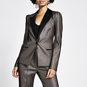 Blazer mit Ärmel in Bronze-Metallic