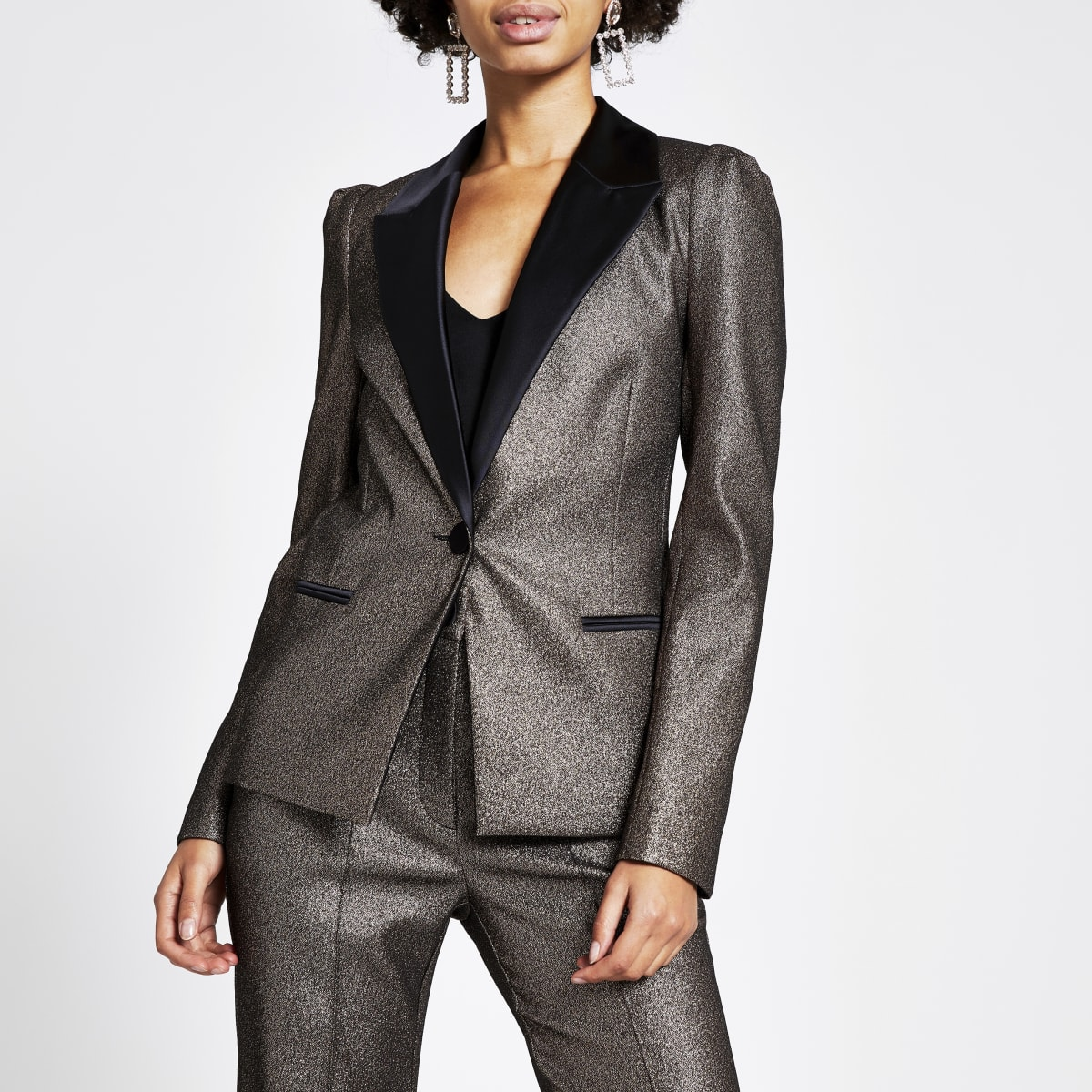 Bronze metallic sleeve blazer