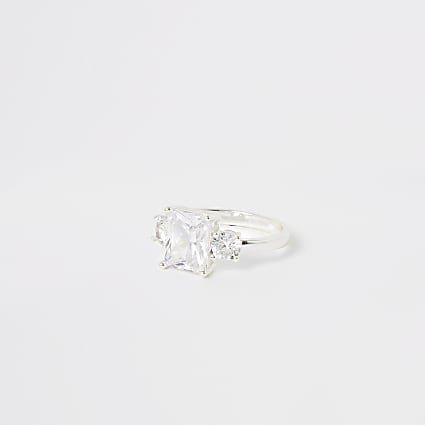 Silver colour triple diamante ring