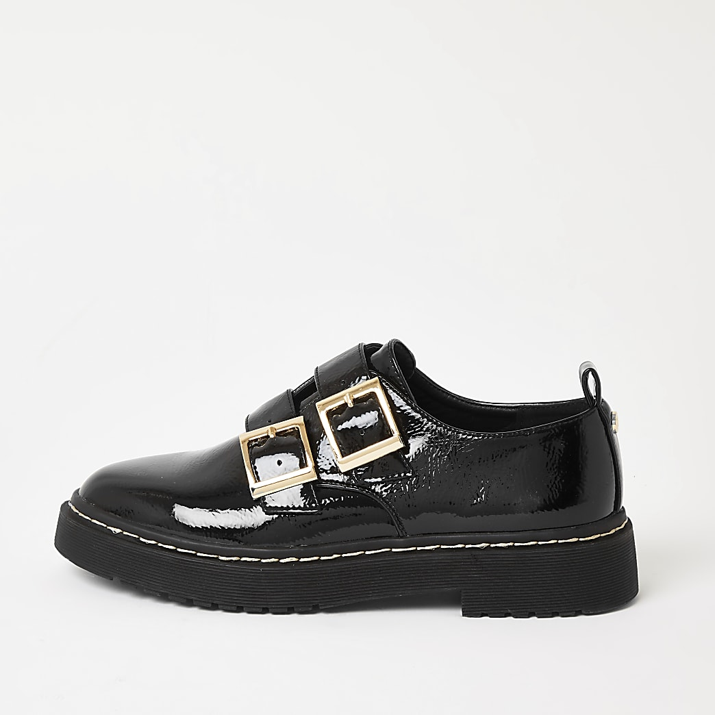 Zwarte lakleren stevige loafers met gesp