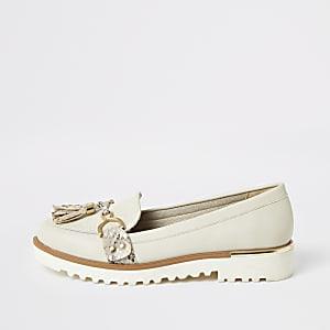 Crèmekleurige stevige loafers met kwastje voor