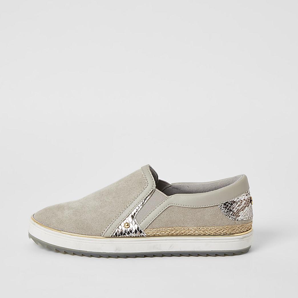 Grijze slip-on sneakers met slangenprint