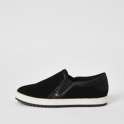 Black slip on trainers
