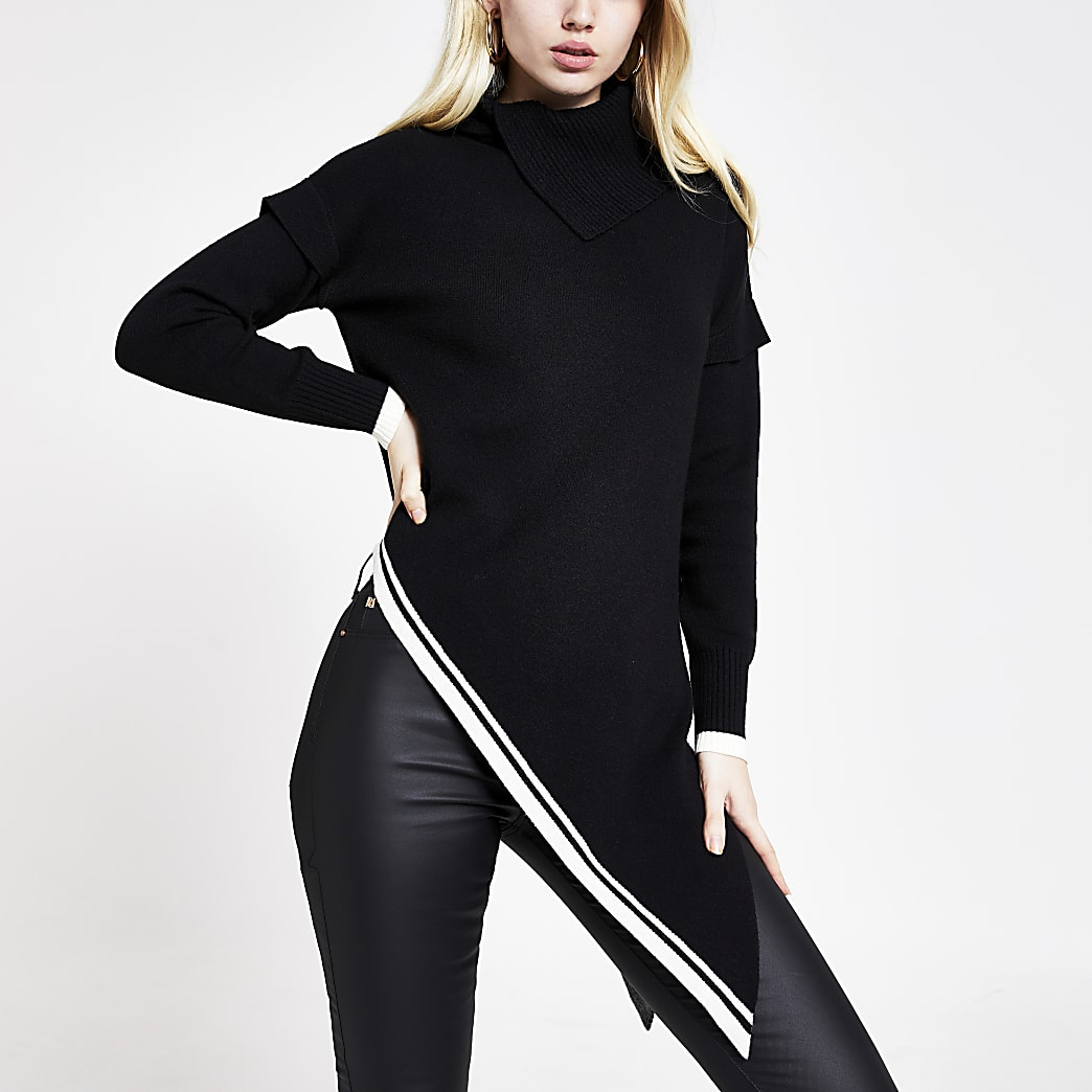 Zwarte asymmetrische gebreide tuniek-trui